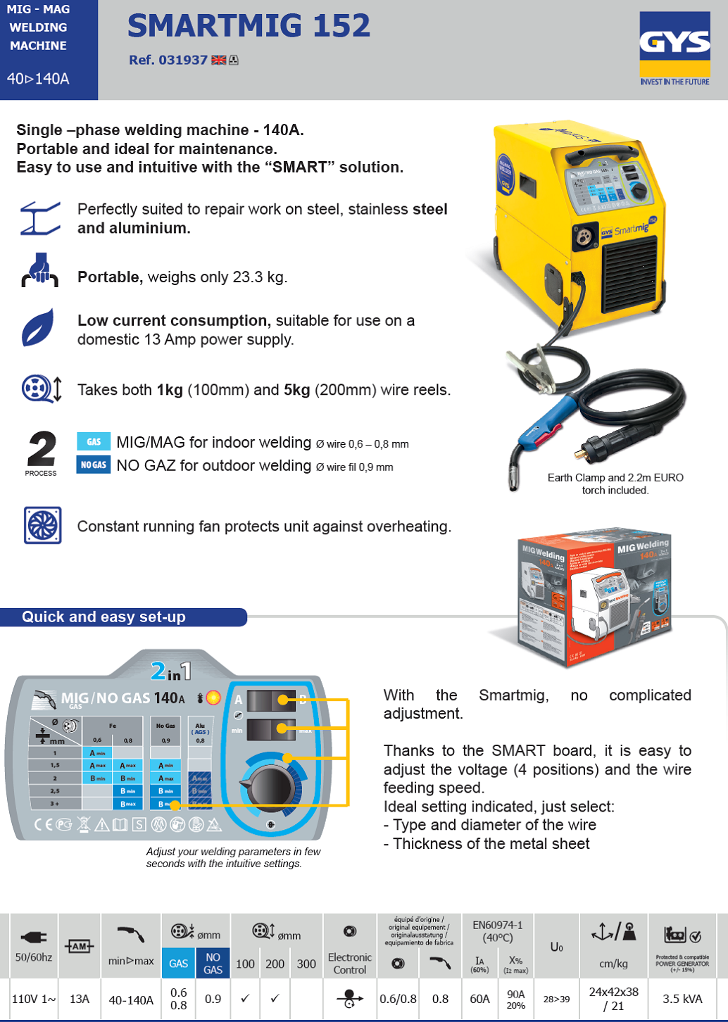 Gys Smartmig 152, Gas or no gas Automotive welder online from wasp ...